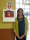 Nurse Mary Landy with AED