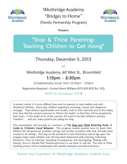 "Bridges to Home presents: ""Stop and Think Parent Workshop"""
