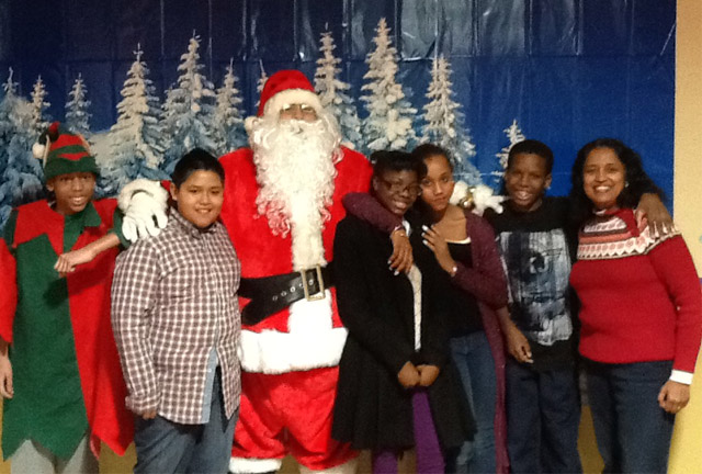 Winter Holiday Fun at Westbridge Academy. Santa with students and staff.