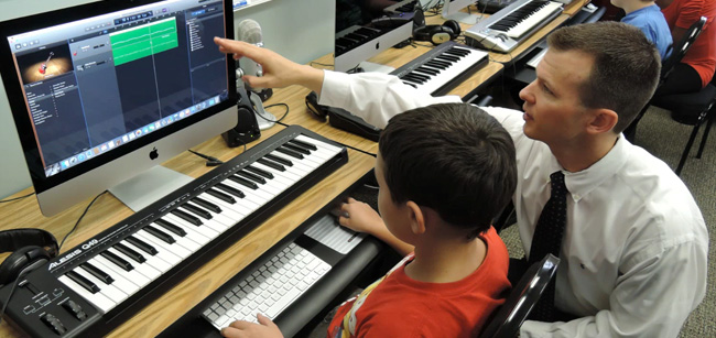 Westbridge Academy Facilities - Music Studio, special education teacher working with students