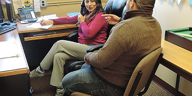 Counselor Tamara Villagran with student, Westbridge Academy, private special education school NJ