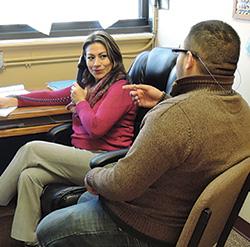 Tamara Villagran, bilingual conselor, with student, Westbridge Academy, Bloomfield, NJ
