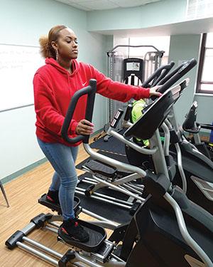 Female high school student on treadmill at Westbridge Academy