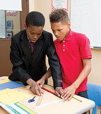 Westbridge Academy students working on math together